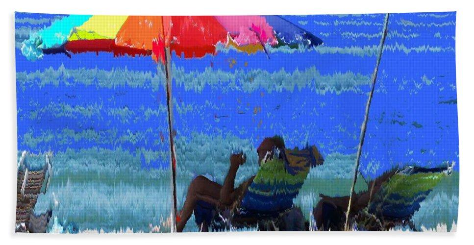 Venice Bath Towel featuring the photograph Bit Of Shade On The Beach by Ian MacDonald