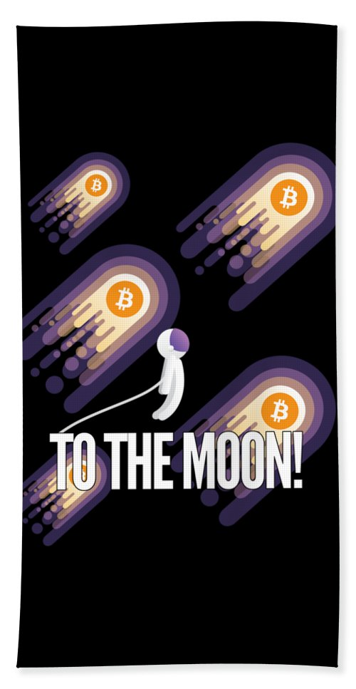 Bitcoin Bath Towel featuring the drawing Bitcoin To The Moon Astronaut Cryptocurrency Humor Funny Space Crypto by Cameron Fulton