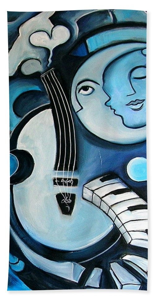 Abstract Hand Towel featuring the painting Black And Bleu by Valerie Vescovi