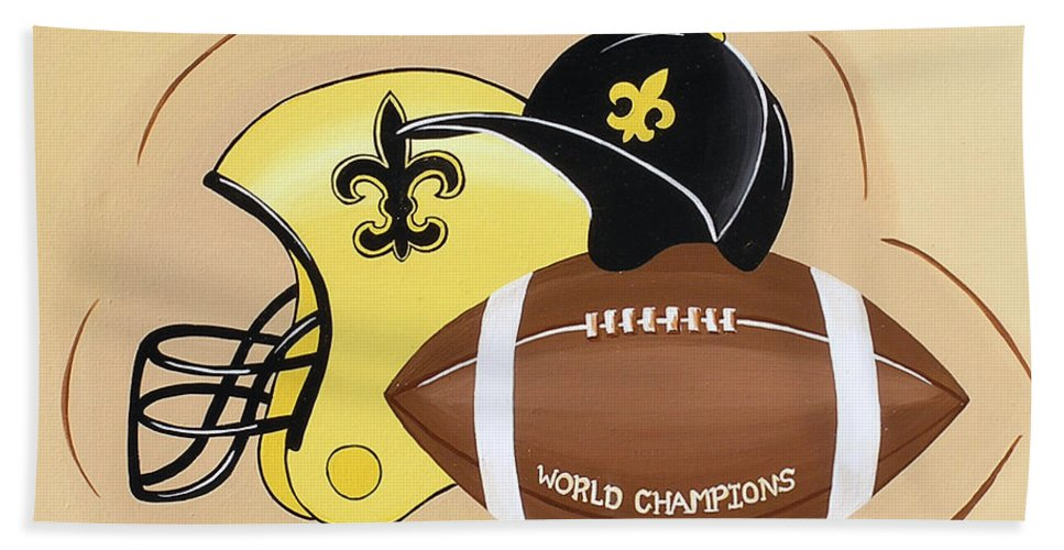 Football Bath Sheet featuring the painting Black And Gold Champs by Valerie Carpenter
