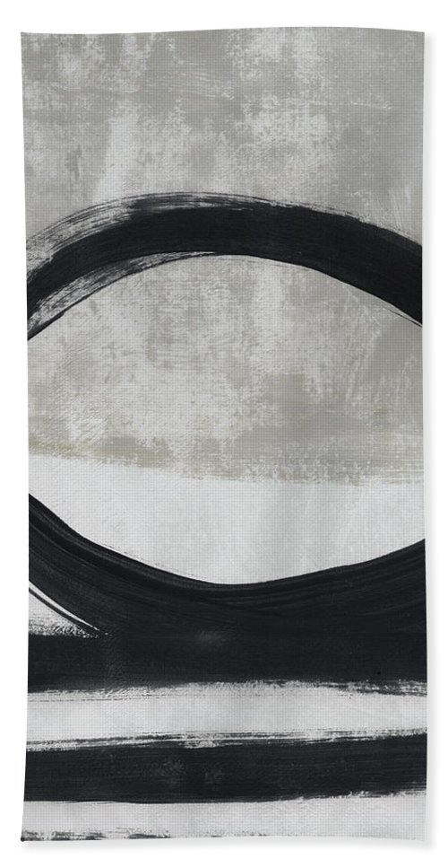 Abstract Hand Towel featuring the painting Black And White Abstract 2- Art By Linda Woods by Linda Woods