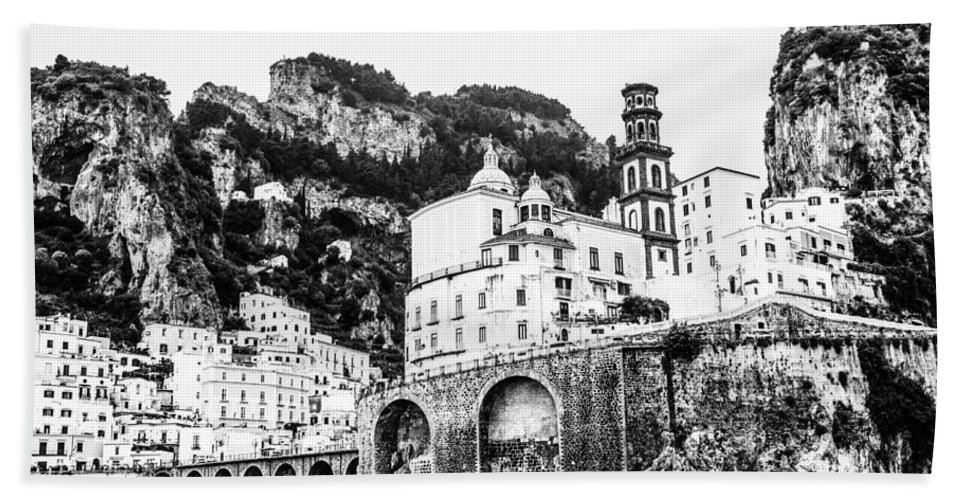 Italy Hand Towel featuring the photograph Black And White Amalfi by Lisa Lemmons-Powers
