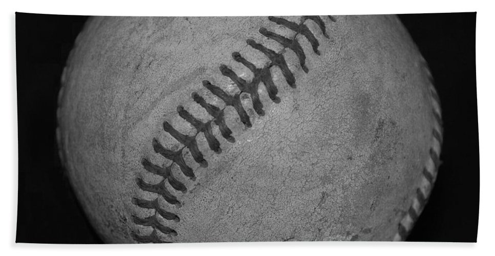 Baseball Hand Towel featuring the photograph Black And White Baseball by Rob Hans