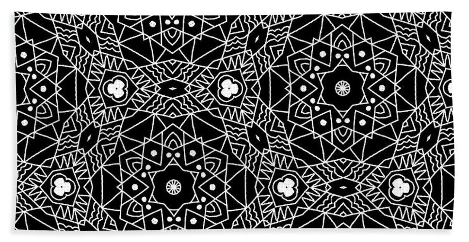 Black Bath Towel featuring the digital art Black And White Boho Pattern 3- Art By Linda Woods by Linda Woods