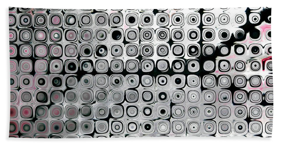 Black Bath Sheet featuring the digital art Black And White Circles A by Patty Vicknair