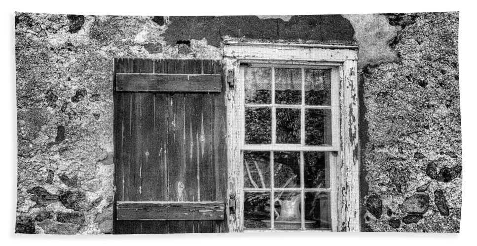 Recent Bath Sheet featuring the photograph Black And White Cottage Window by Geraldine Scull