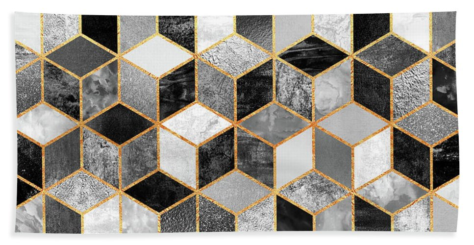 Graphic Design Bath Towel featuring the digital art Black And White Cubes by Elisabeth Fredriksson