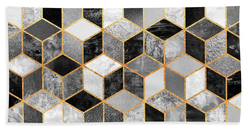 Graphic Design Hand Towel featuring the digital art Black and White Cubes by Elisabeth Fredriksson