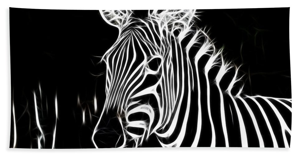 Zebra Hand Towel featuring the photograph Black And White by Douglas Barnard