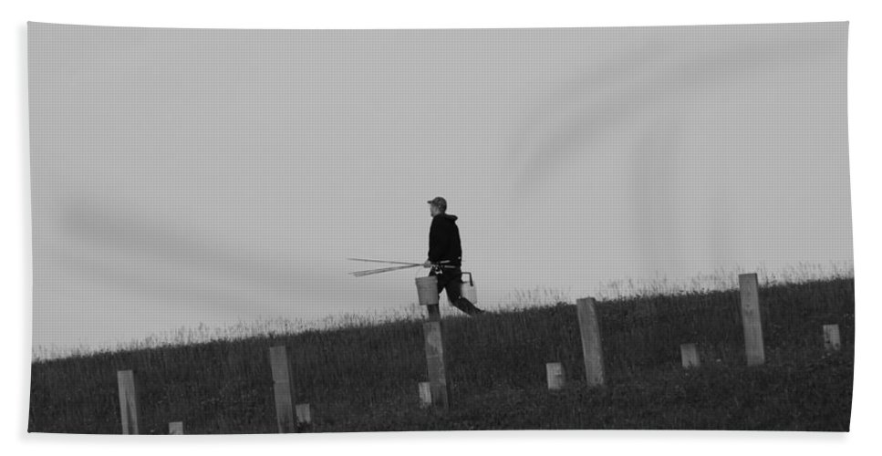 Black And White Fisherman Bath Sheet featuring the photograph Black And White Fisherman by Dan Sproul