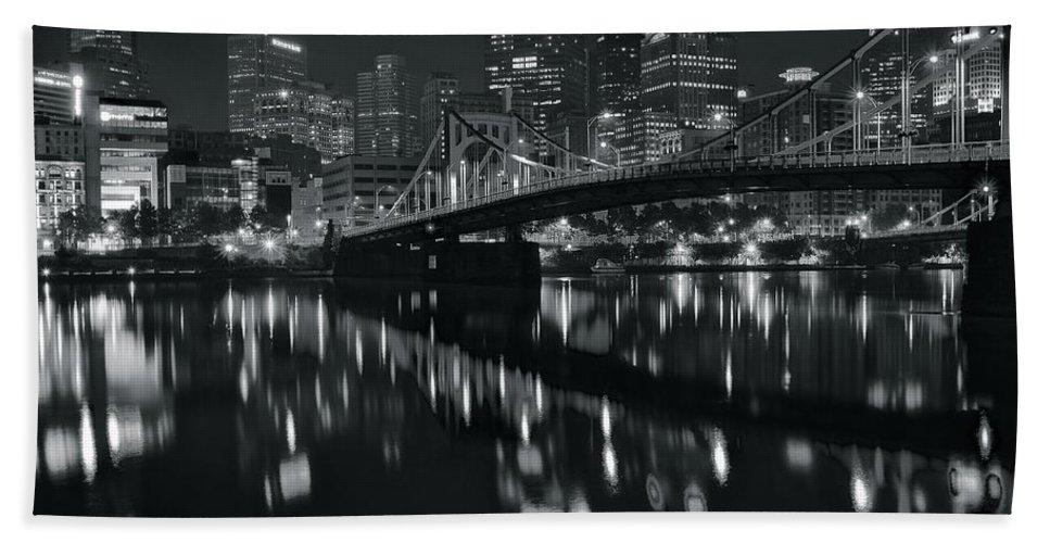 Pittsburgh Bath Sheet featuring the photograph Black And White Lights by Frozen in Time Fine Art Photography
