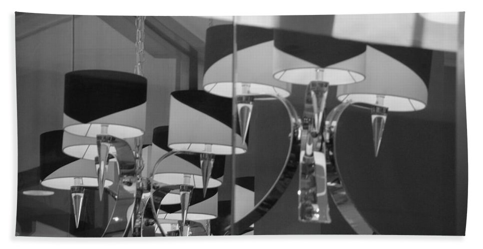 Chandeliers Bath Sheet featuring the photograph Black And White Lights by Rob Hans