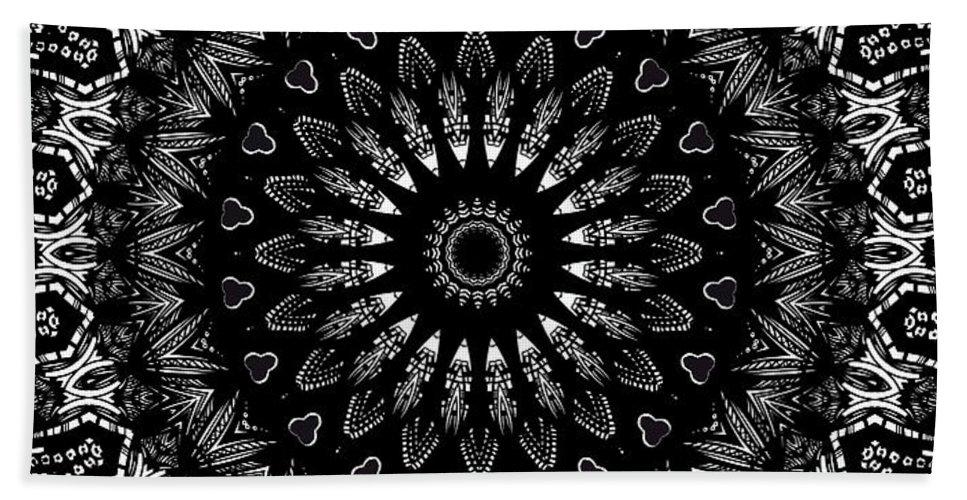 Digital Hand Towel featuring the digital art Black And White Mandala No. 2 by Joy McKenzie