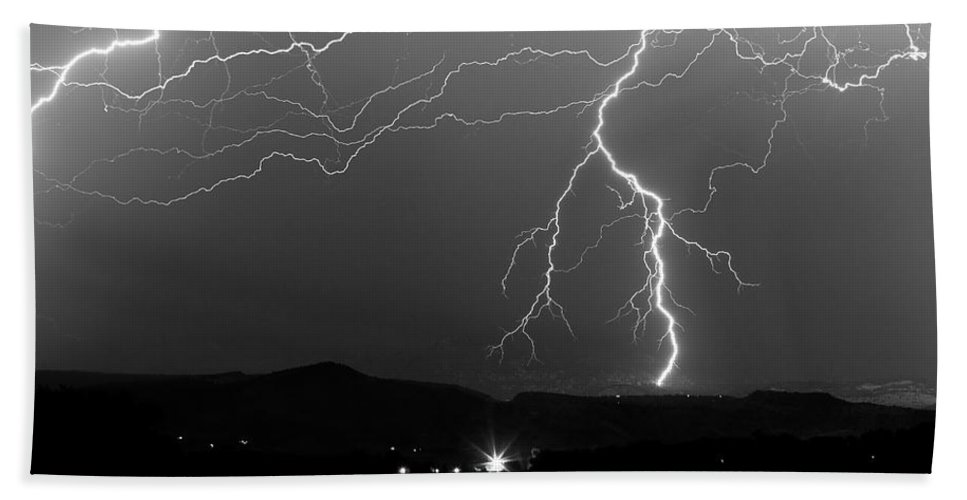 Lightning Hand Towel featuring the photograph Black And White Massive Lightning Strikes by James BO Insogna