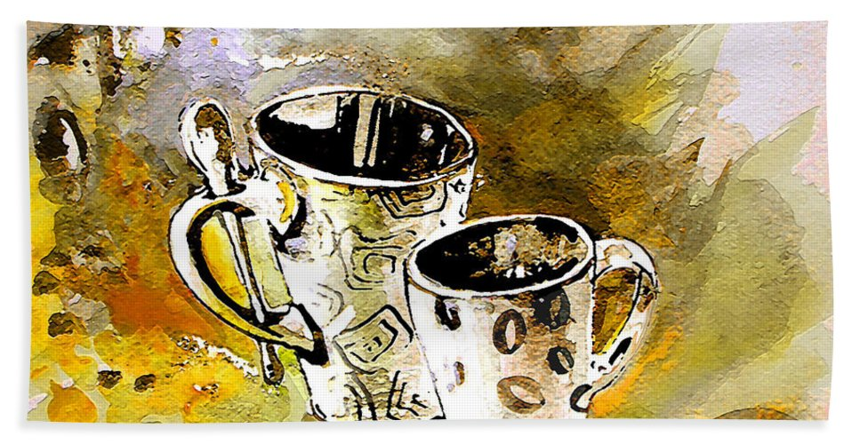 Cafe Crem Hand Towel featuring the painting Black And White by Miki De Goodaboom