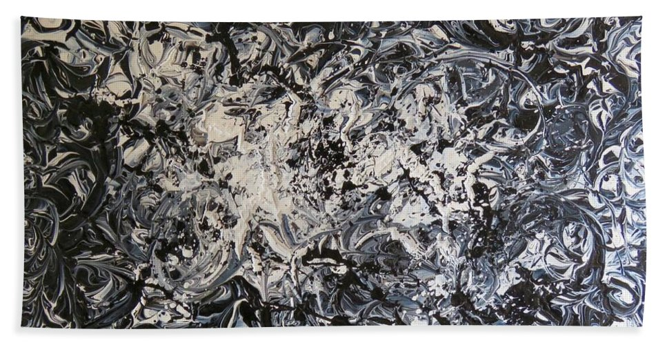 #artist #art #abstract #painting #textured #paints #rahat #beautiful #insta #dailyart #love #life #instamood #follow #amazing #world #pics #india #black #white @acrylic #knife #knifework Hand Towel featuring the painting Black And White by Rahat Kazmi