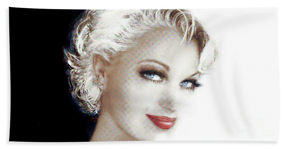 Face Bath Sheet featuring the painting Black And White Red Lips by Angie Braun