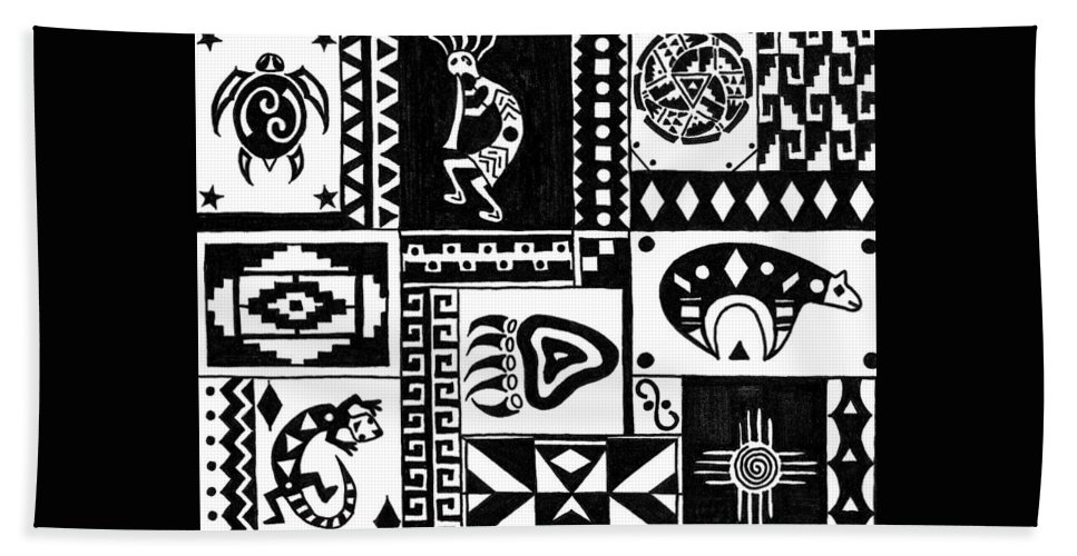 Turtle Hand Towel featuring the painting Black And White Southwest Sampler by Susie WEBER