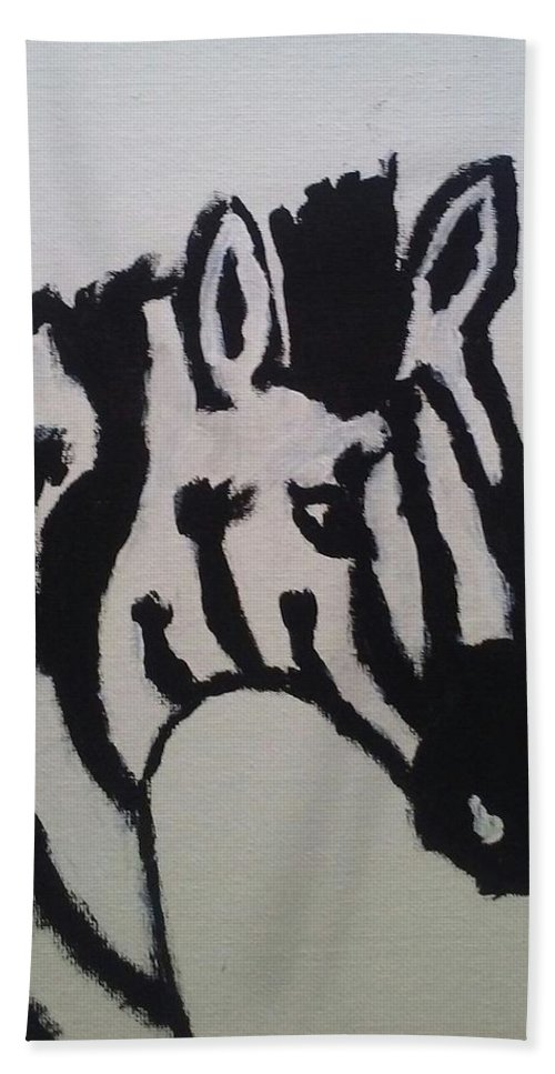 Black Hand Towel featuring the painting Black And White Stripes by Alisha Albin