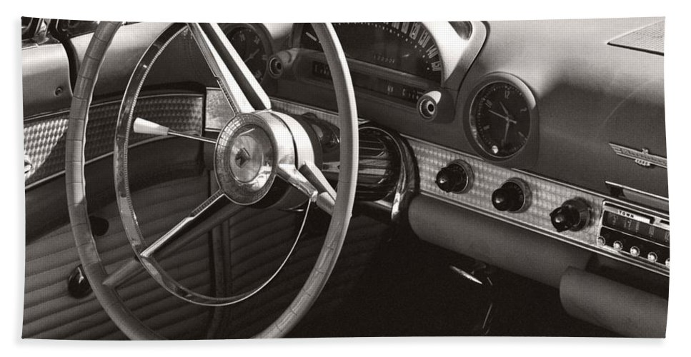 Black Bath Towel featuring the photograph Black And White Thunderbird Steering Wheel And Dash by Heather Kirk