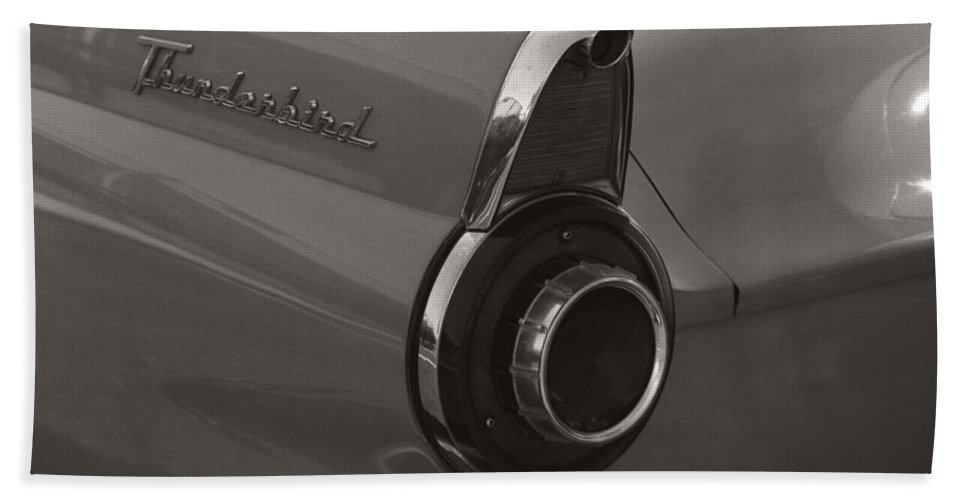 Black And White Photography Bath Towel featuring the photograph Black And White Thunderbird Tail Fin by Heather Kirk