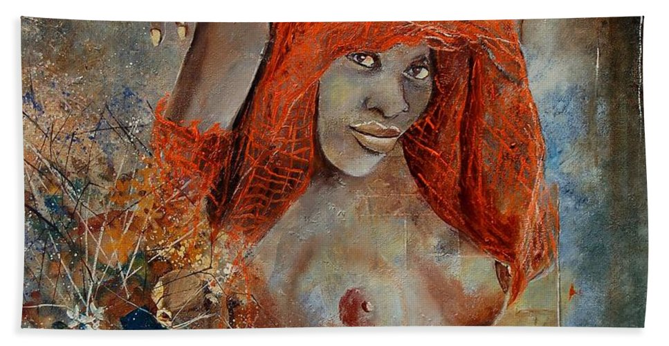 Nude Hand Towel featuring the painting Black Beauty by Pol Ledent