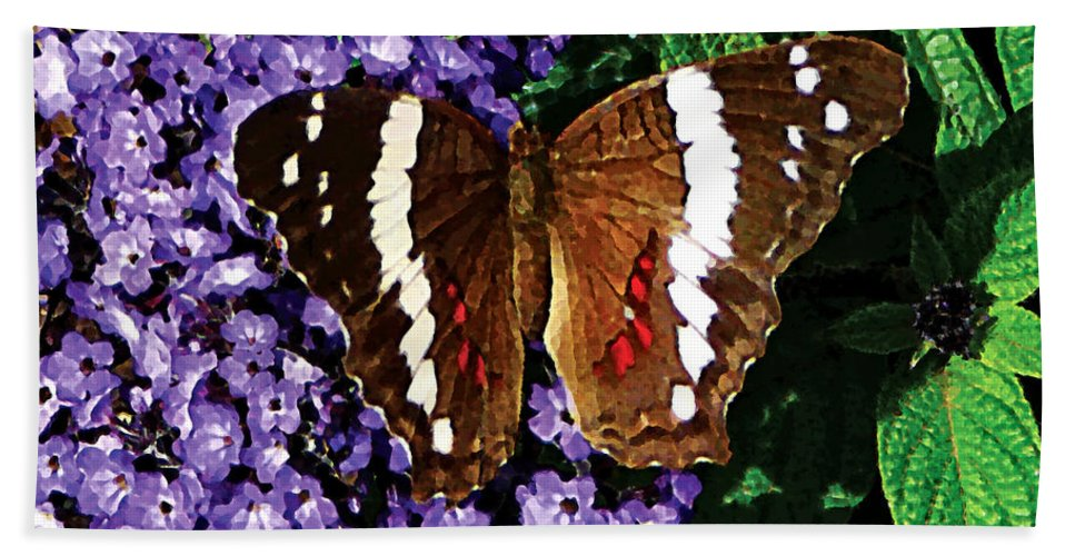 Butterfly Bath Sheet featuring the photograph Black Butterfly On Heliotrope by Susan Savad