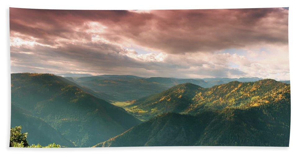 Landscape Bath Sheet featuring the photograph Black Canyon 2 by Samantha Burrow
