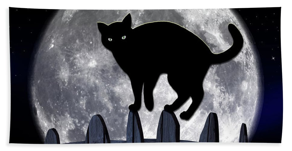 Halloween Hand Towel featuring the photograph Black Cat And Full Moon 3 by Nina Ficur Feenan