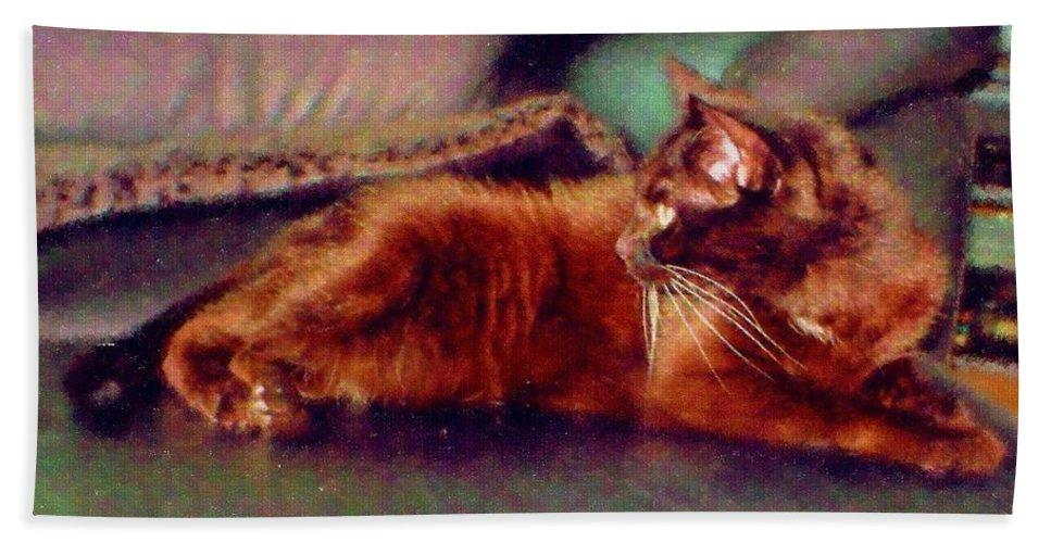 Cat Bath Towel featuring the digital art Black Cat by Anita Burgermeister