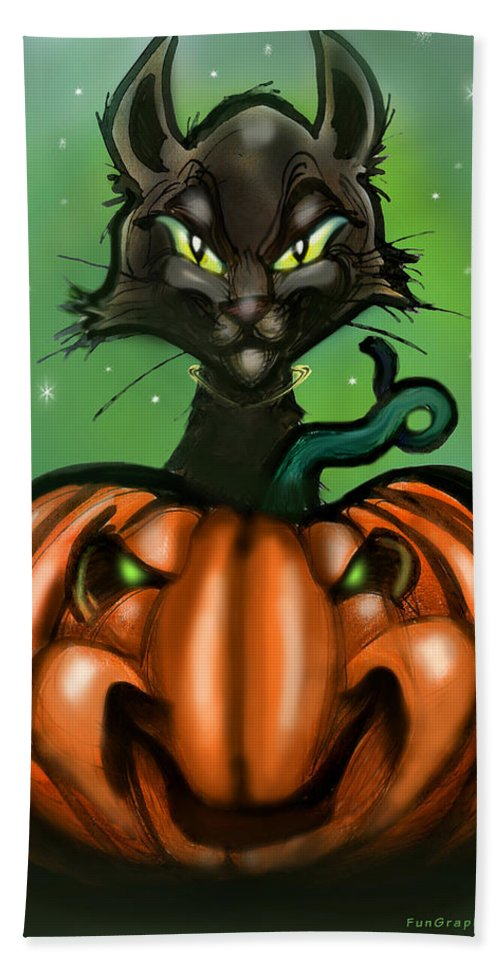 Halloween Hand Towel featuring the greeting card Black Cat N Pumpkin by Kevin Middleton