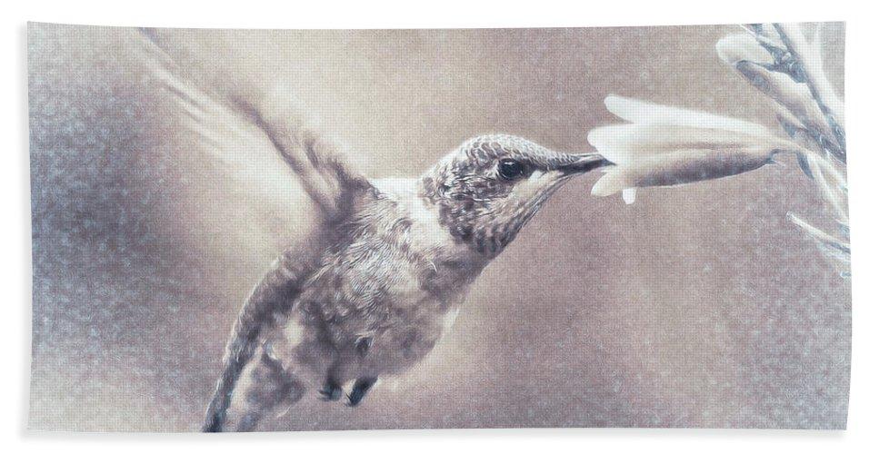 Hummingbird Hand Towel featuring the digital art Black-chinned Hummingbird by Carol Fox Henrichs