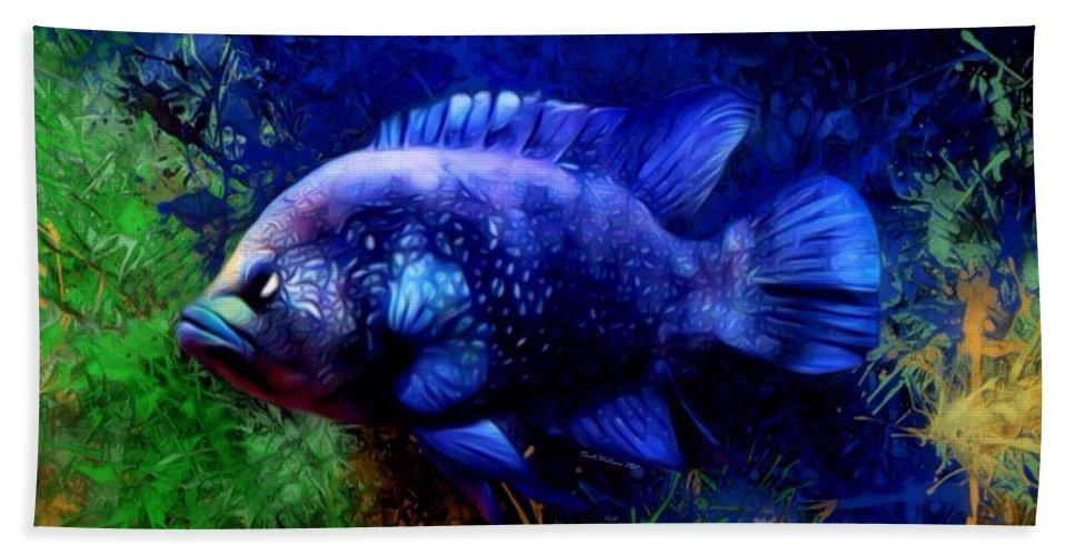 Cichlid Bath Towel featuring the digital art Black Diamond Cichlid Painting by Scott Wallace Digital Designs