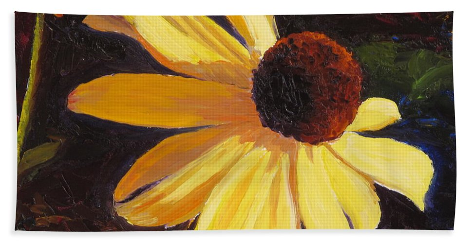 Flower Hand Towel featuring the painting Black-Eyed Susan by Lea Novak
