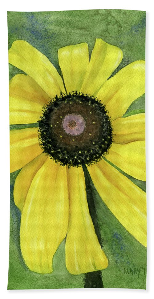 Black Eyed Susan Bath Sheet featuring the painting Black Eyed Susan by Mary Tuomi