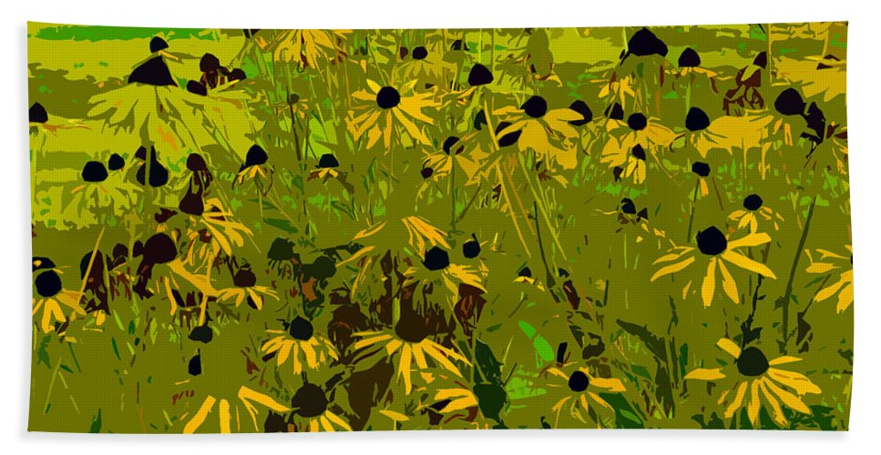 Black Eyed Susan Bath Towel featuring the photograph Black Eyed Susan Work Number 21 by David Lee Thompson
