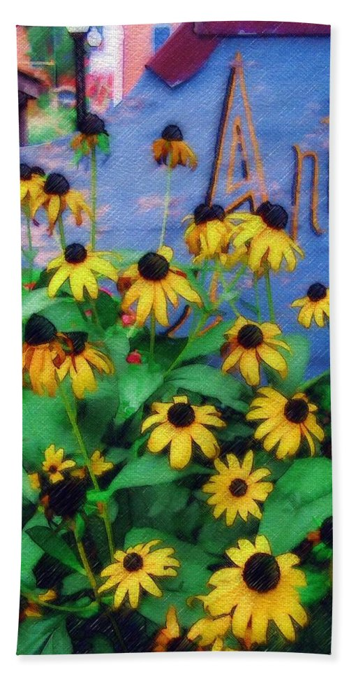 Flowers Bath Towel featuring the photograph Black-eyed Susans At The Bag Factory by Sandy MacGowan
