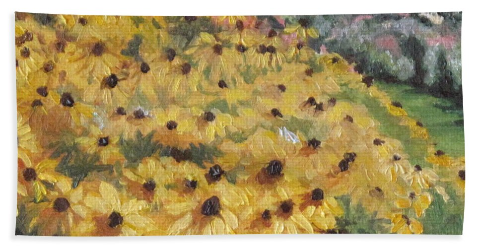 Floral Bath Towel featuring the painting Black-eyed Susans by Lea Novak