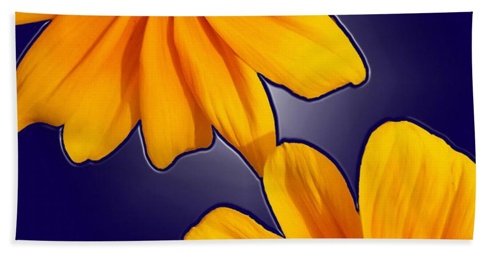 Flower Hand Towel featuring the photograph Black-eyed Susans On Blue by Tara Hutton
