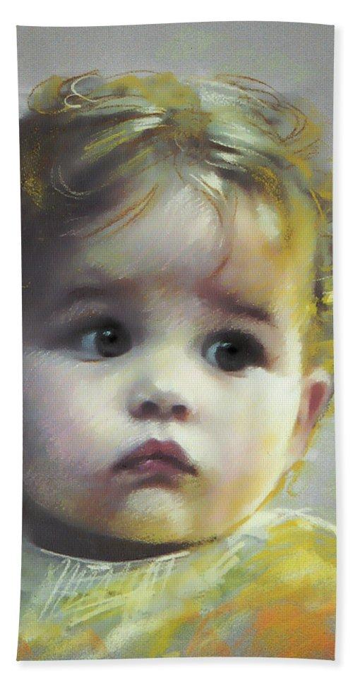 Portrait Bath Sheet featuring the pastel Black Eyes by Ylli Haruni