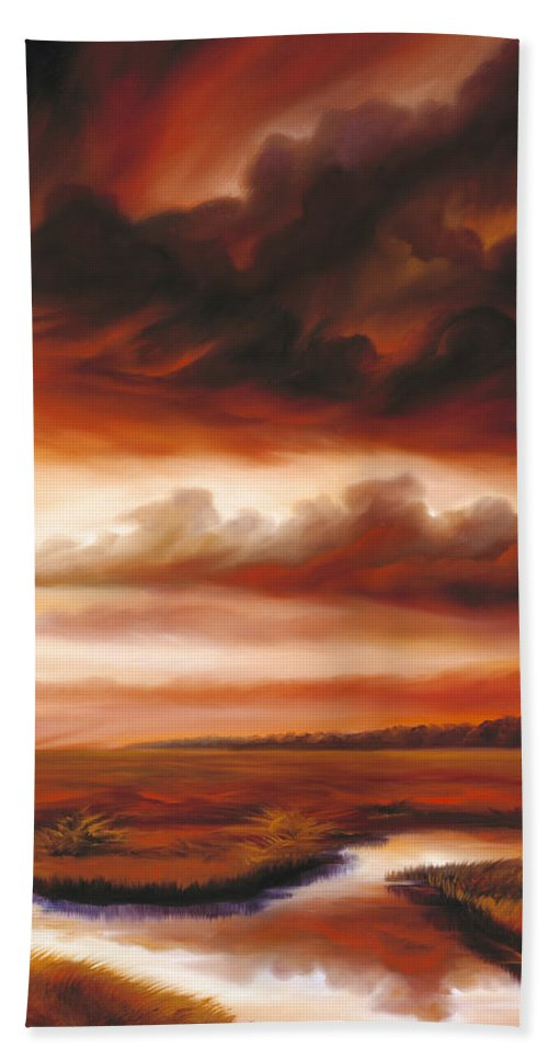 Contemporary Bath Sheet featuring the painting Black Fire by James Christopher Hill