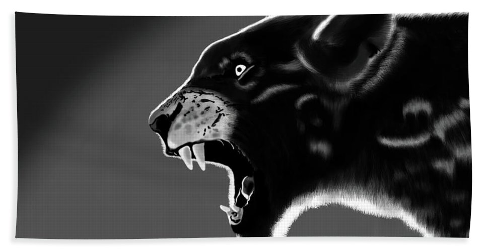 Tiger Hand Towel featuring the painting Black Glow Tiger by Krishna Kukade