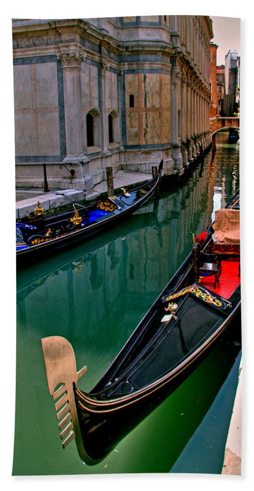 Italy Bath Sheet featuring the photograph Black Gondola by Peter Tellone