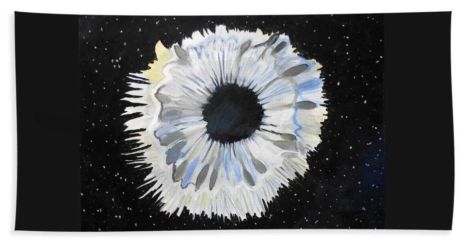 Eye Hole Illusion Surrealism Surrealist Surreal Space Stars Black Painting Paintings Watercolor Gouache Hand Towel featuring the painting Black Hole Or Is It? by Laura Joan Levine