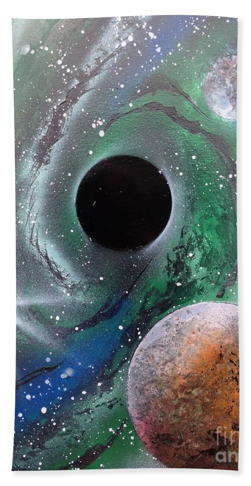 Black Hole Hand Towel featuring the painting Black Hole by Tyler Haddox
