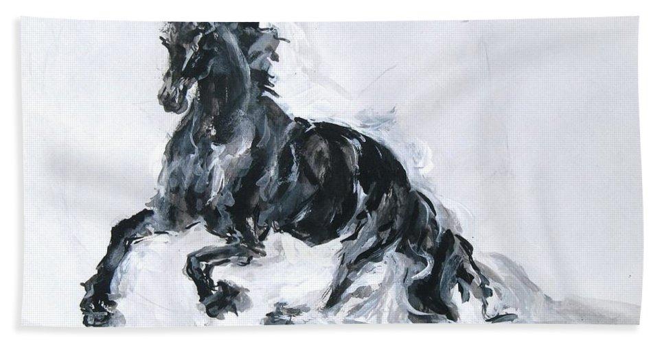 Black Horse Bath Sheet featuring the drawing Black Horse by Sviatoslav Alexakhin
