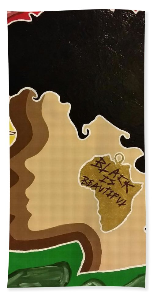 Black Hand Towel featuring the painting Black Is Beautiful by Lakeesha Mitchell