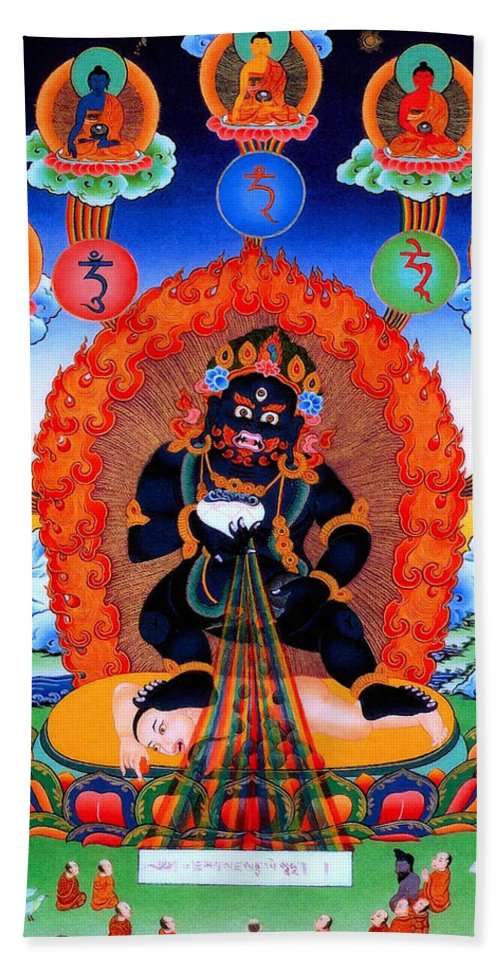 Black God Of Wealth Bath Sheet featuring the photograph Black Jambhala 1 by Jeelan Clark