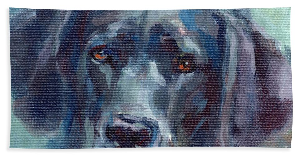 Black Lab Hand Towel featuring the painting Black Lab Bandit by Kimberly Santini