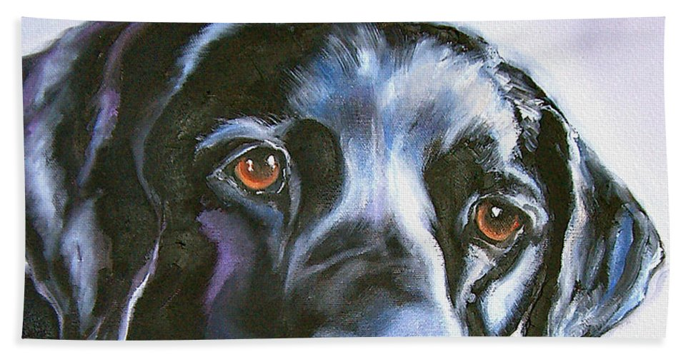 Dogs Bath Sheet featuring the painting Black Lab No Ordinary Love by Susan A Becker